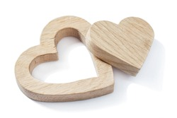 wood simbol toys hearts  isolated white