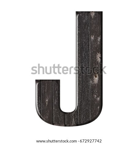 Wood slats textured uppercase or capital letter J in a 3D illustration with a bold font and natural wood grain & knots texture in a dark brown color isolated on a white background with clipping path. Stock fotó ©