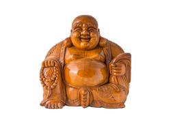 Wood Smiling Buddha with isolated background