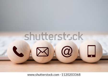 Wood sphere symbol telephone, mail, address and mobile phone. Website page contact us or e-mail marketing concept #1120203368