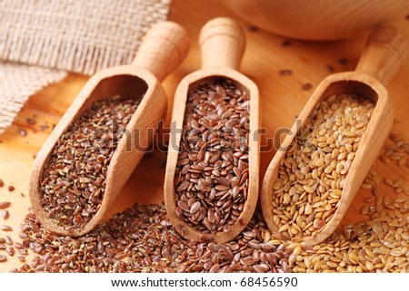 Wood spoons with whole brown, golden and ground flax seeds