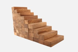 Wood Stair Steps To Success Isolated on White