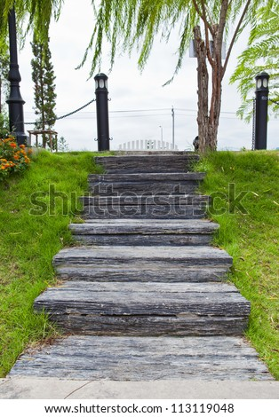 Wood stair way in a garden
