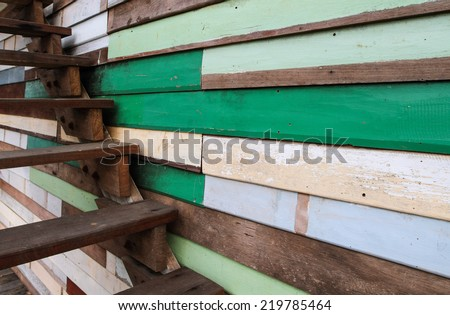 Wood stair with wall background