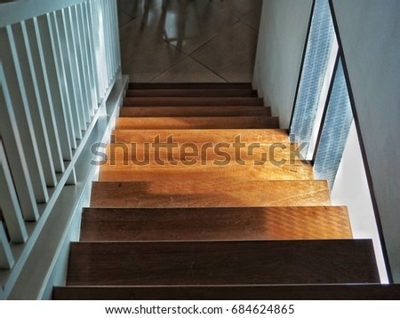 Wood staircase, home interior design. #684624865