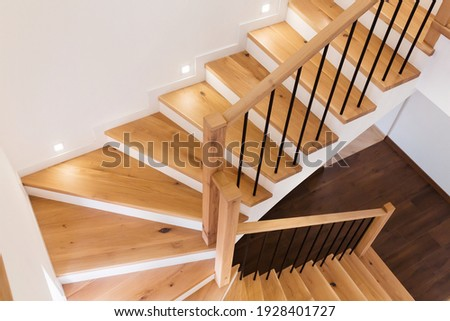Wood staircase inside contemporary white modern house. Stock photo ©