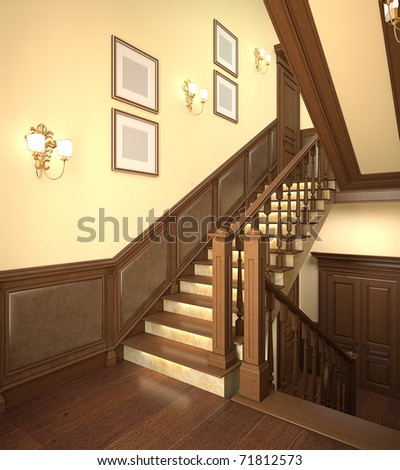 Wood stairs in the modern house. 3d interior.