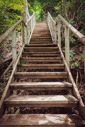 Wood stairs of the Natural Reserve Manuel Antonio in Costa Rica. It is a wonderfull way to walk in the rainforest, finding wild animals and beaches.