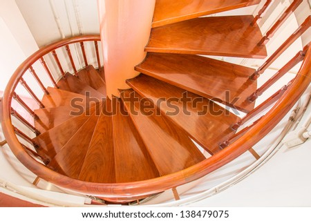 Wood Stairway With Hand-Rails