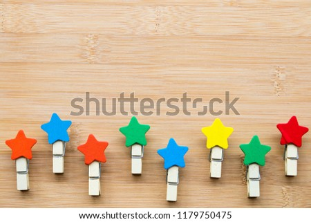 wood star stick colorful handmade arrangement on background wooden #1179750475