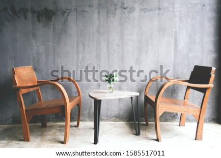 Wood Table and chair, living corner, relaxing corner. #1585517011