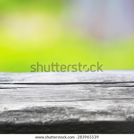 Wood table in the open air for picnic, side view