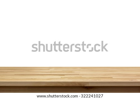 Wood table top isolated on white background - can be used for display or montage your products