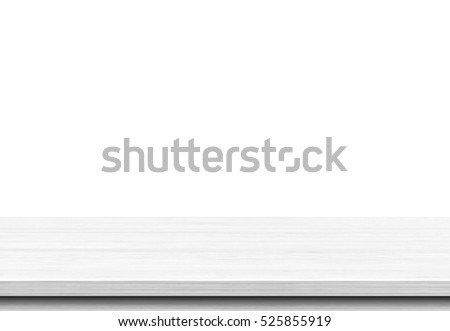 Wood table top isolated on white background, Used for display or montage your products