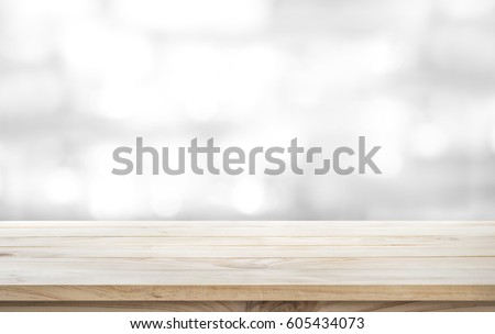 Wood table top on white abstract background.For montage product display or design key visual layout