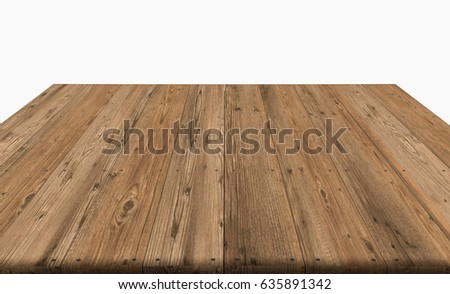 wood table top on white background, display or montage your product, 3D rendering object.