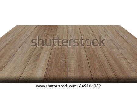 wood table top on white background, display or montage your product, 3D rendering object. #649106989
