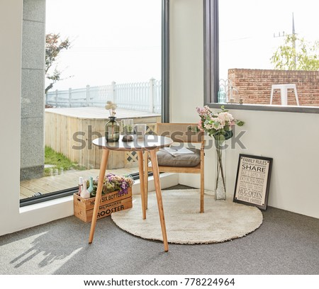 Wood Tea Table in the balcony #778224964