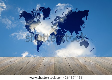 Wood terrace and Blue sky background with world map