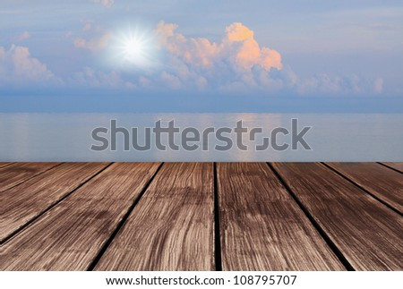 wood terrace perspective to sky and sun shine