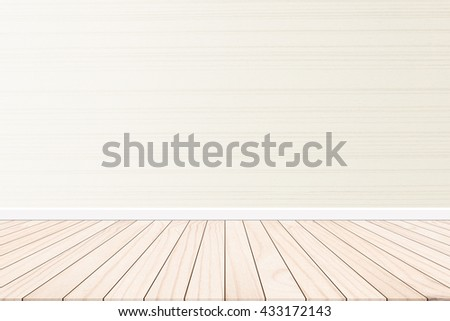 Wood terrace with a background cement wall design ideas within the building.Wood floors on backdrop cream color. Warm pastel wallpaper style sweet romantic.shades of pastel