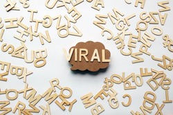 Wood text viral wood bubble and clear background.For viral marketing concept.