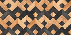Wood texture background. Rough seamless parquet floor with geometric pattern. Old wooden planks.