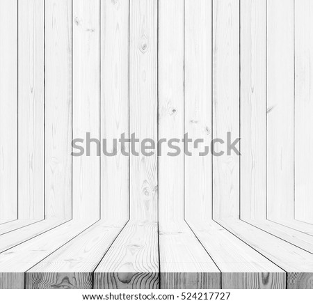 Wood texture background. white wood wall and floor