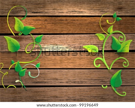 wood texture background with green plant, beautiful illustration