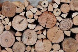 wood texture from log as natural material background at local cafe in winter season. Closeup rough hardwood in vintage style to call out for deforestation topic. Pile of firewood as fuel for fireplace