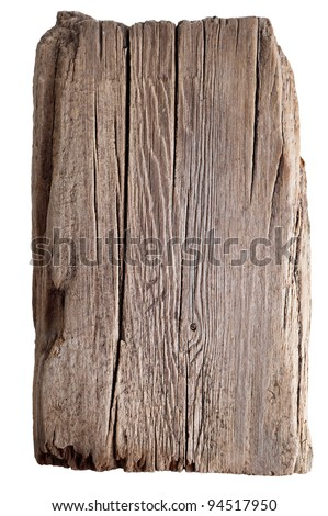 Wood texture. Old wooden board isolated on white background