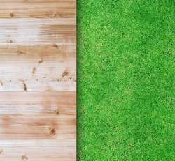 Wood texture on green grass background