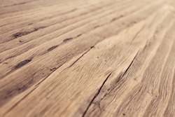 Wood Texture, Wooden Plank Grain Background, Desk in Perspective Close Up, Striped Timber, Old Table or Floor Board