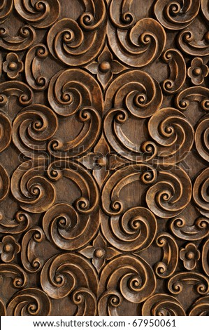 Wood Thai pattern Handmade wood carvings - stock photo