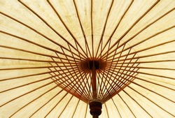 Wood Thai tradition spa umbrella structure close up.