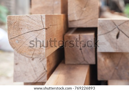Wood timber construction material Stock in warehouse. ストックフォト ©