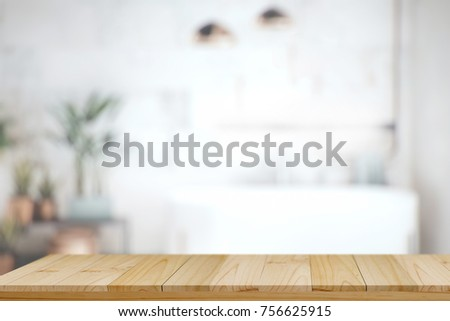 Wood top table with white blurred bathroom interior Background. for product display montage. - Shutterstock ID 756625915