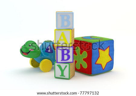 Wood toy blocks spelling baby with baby toys in background isolated on a white background 3d Model, 300 D.P.I