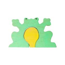 wood toy puzzle frog shape isolated on white background