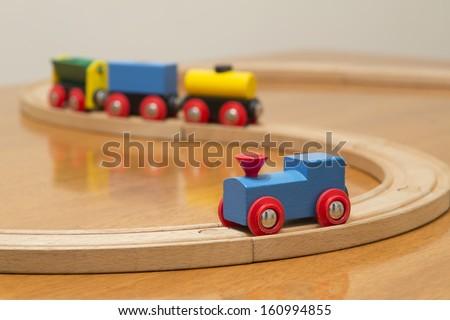 wood toy train set