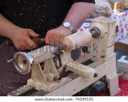 Wood Turning Craft Work On A Lathe Manufacturing Furniture
