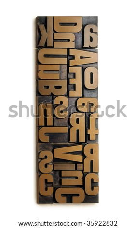 Wood type set isolated on a white background