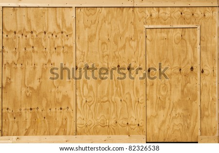 Wood wall and door background - stock photo