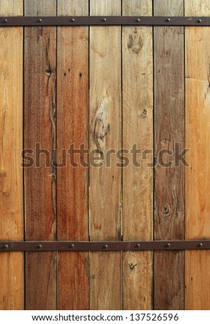 wood wall with rusty steel metal and nail texture background, brown plank wooden wall background