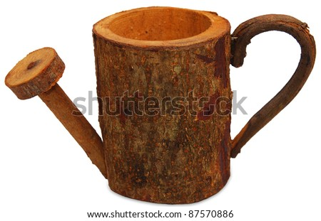 wood watering can isolated