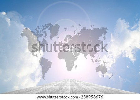 Wood way and Blue sky background with world map
