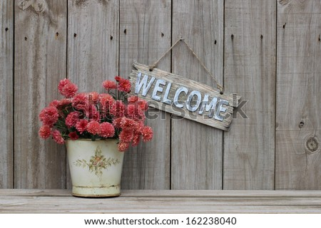 Wood welcome sign with pot of pink spring flowers - mums - hanging on distressed old rustic wooden fence; Mothers Day and floral background with copy space