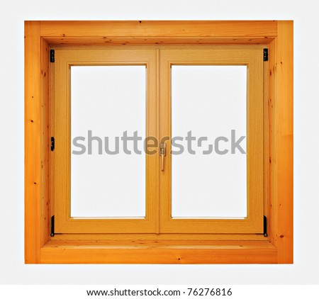 Wood window frame isolated on white.