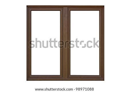 Wood window frame isolated on white.