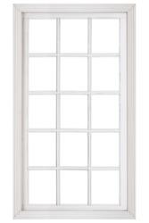 Wood window frame isolated on white background